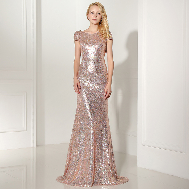 Rose Gold Sequined Long Bridesmaid Dresses Prom Party Gowns 8155762718#