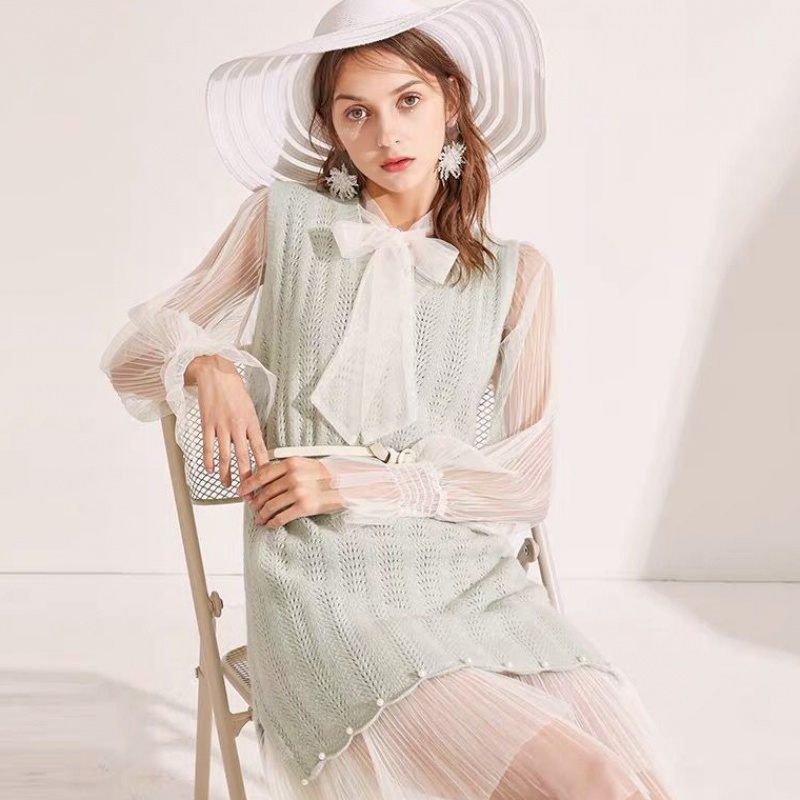 Spring Autumn Women's V Neck Sweater with Tulle Long Dress Real 2pcs 8395238899#