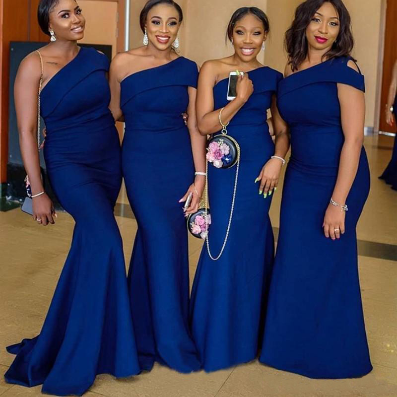 Royal Blue One Shoulder Mermaid Bridesmaid Dresses Sweep Train Wedding Guest Gowns Maid Of Honor Dress Plus Size 8402461652#