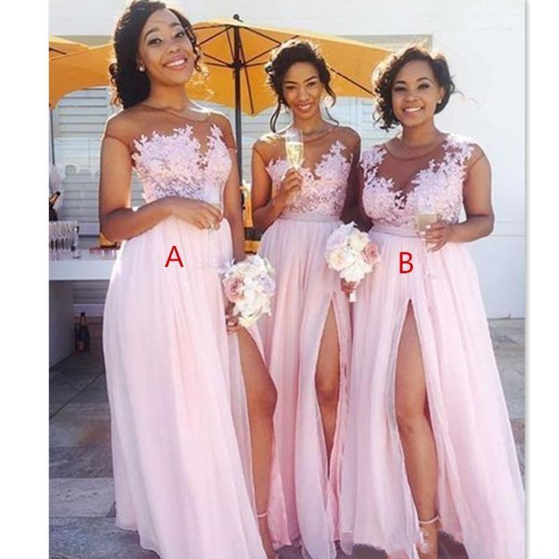 Cheap Country Blush Pink Bridesmaid Dresses Sexy Sheer Jewel neck Lace Appliques Split Formal Evening Gowns Wear 8414813674#