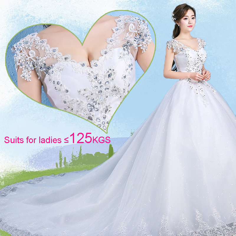Plus Size V Neck Beads Ball Gown Empire Wedding Dress Sweep Train Lace-up Back Maternity Bride's Dress 8433995875#