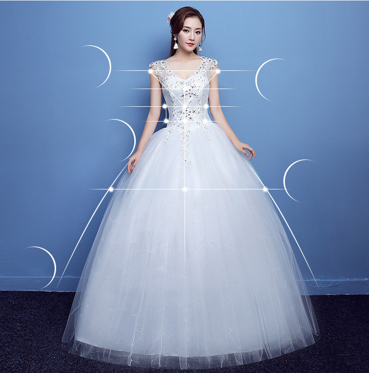 Plus Size V Neck Beads Ball Gown Empire Wedding Dresses Floor Length Maternity Bride's Wedding Gowns 8434073231#