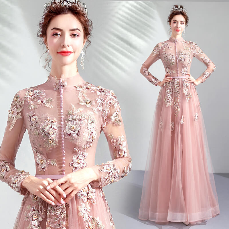 Good Quality Hand Made Luxury Embroidery High Neck Evening Prom Dresses 8436579983#