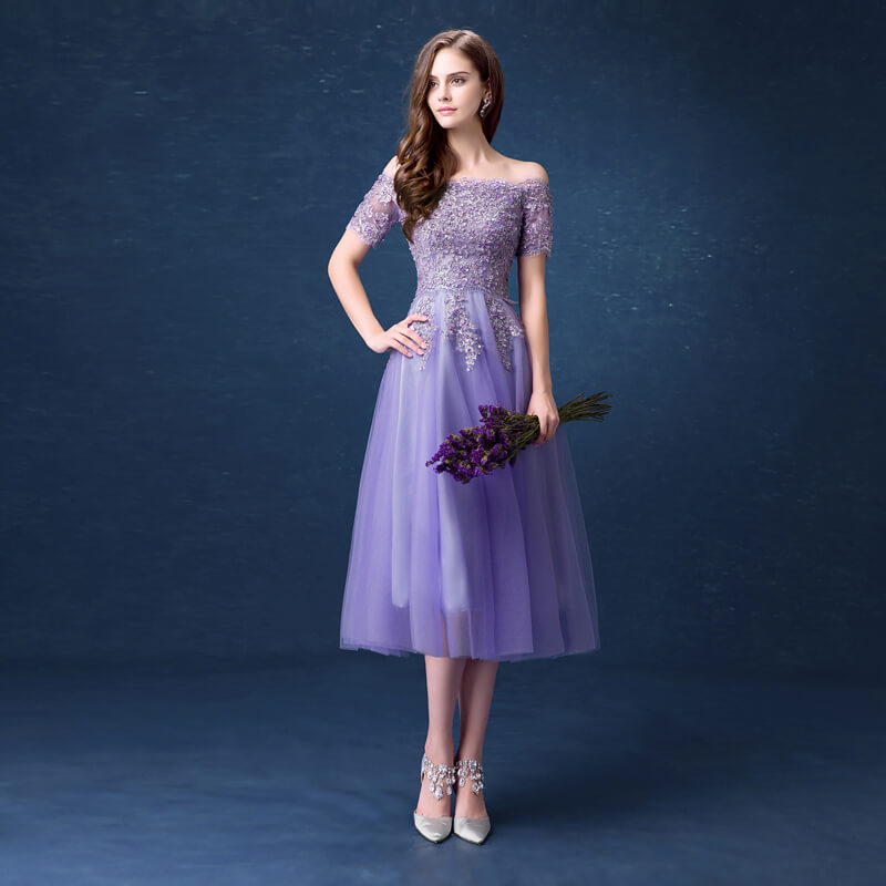 Purple Prom Party Dress Knee Length 8438406697#