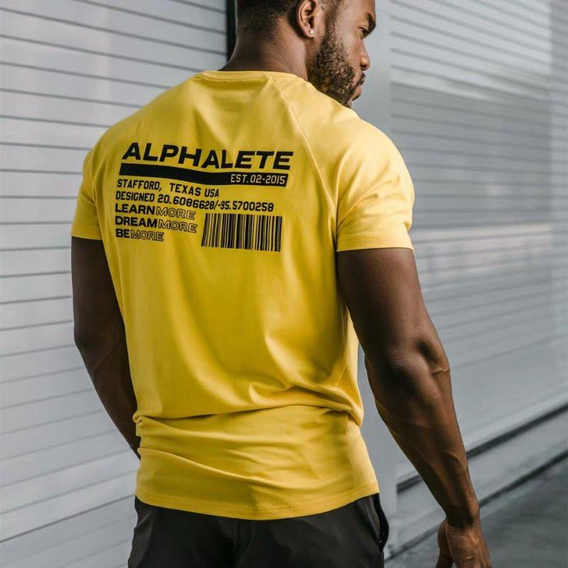 ALPHALETE Men Summer Gyms Casual T Shirt Crossfit Fitness Bodybuilding Muscle Male Short Sleeve T-Shirts Cotton Tops Clothing 8463607670#