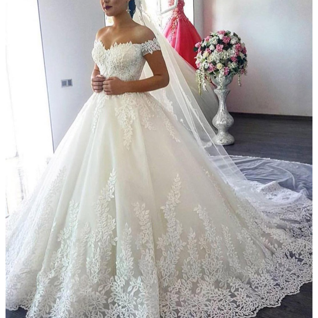 Off Shoulder Lace Ball Gown Wedding Dresses 8471468927#