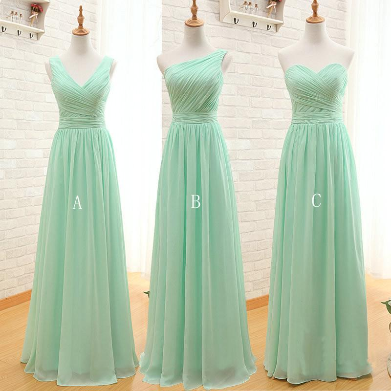 Mint Green Long Chiffon Bridesmaid Dress 2020 A Line Pleated Beach Bridesmaid Dresses Wedding Guest Gowns 8471697740#