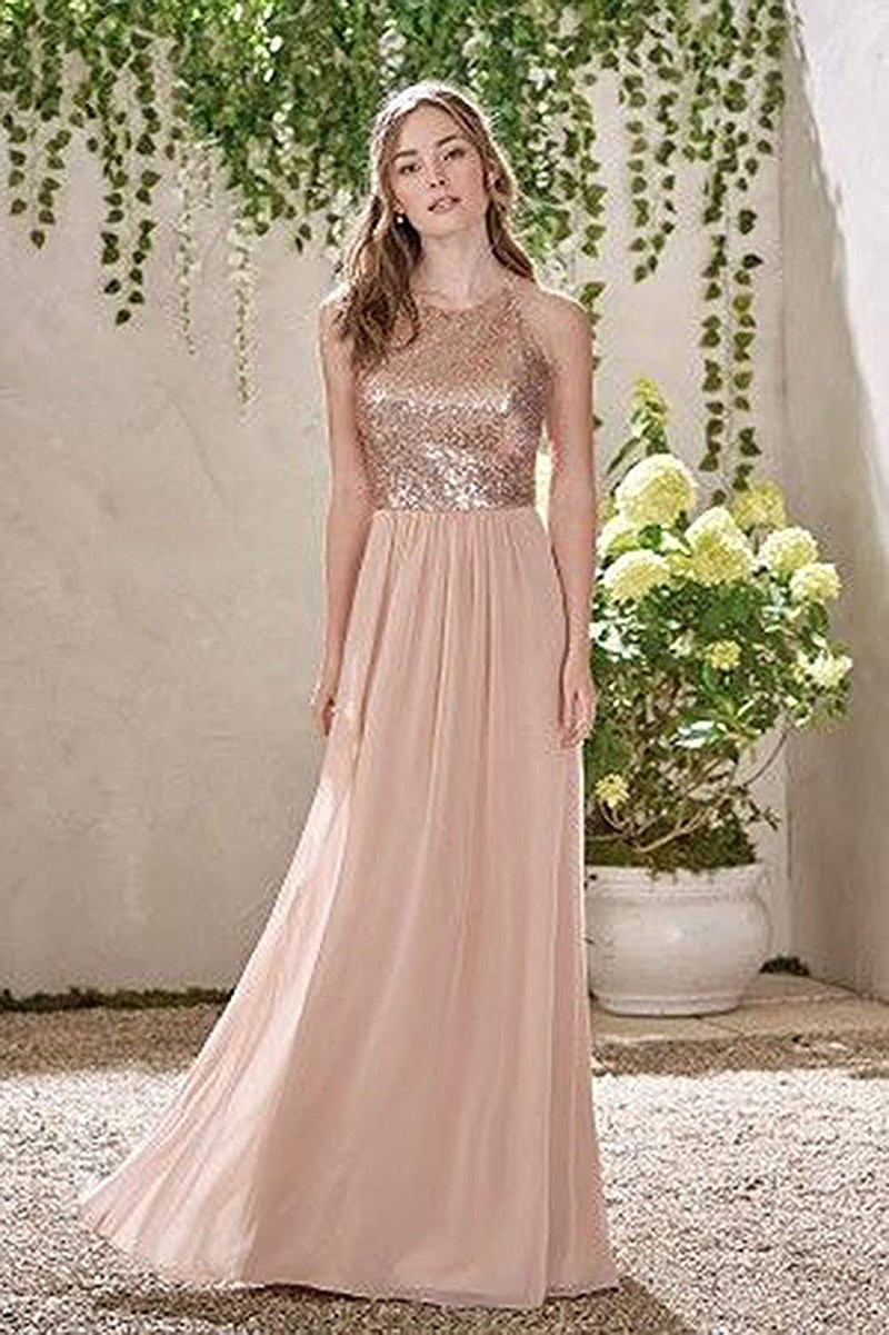 Shining Sequins Crew Neck Chiffon Bridesmaid Dress Floor Length Prom Gowns 8471712225#