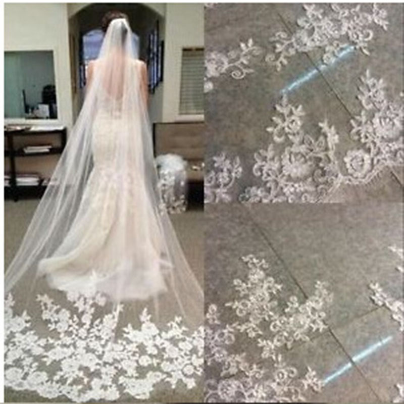 3 Meters Long Cathedral Length Appliques Bridal Veils With Comb 8471776339#
