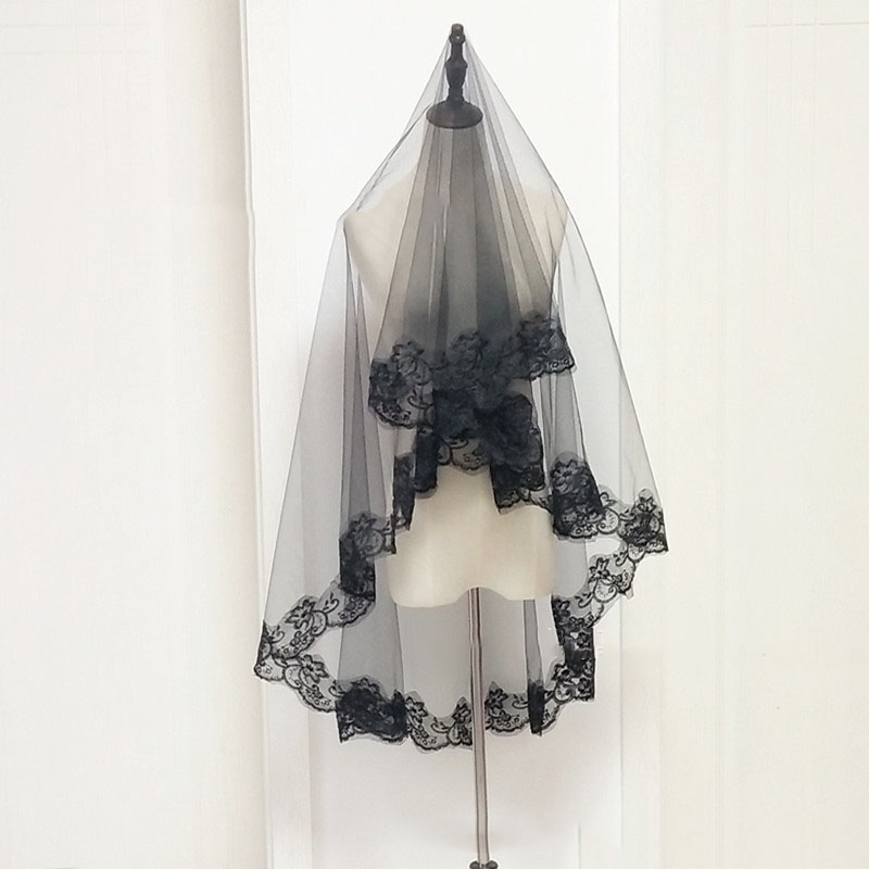 Fingertip Length Black Bridal Veils 1.3*1.5 Meters 8472665169#