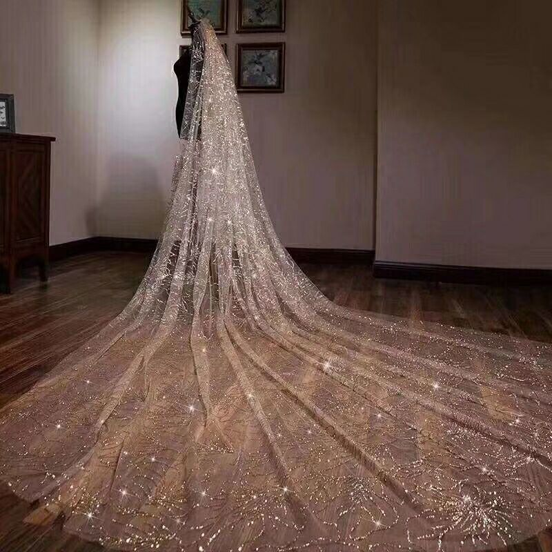 Luxury Glittering Wedding Veils 3*3.5Meters Long Cathedral Length 8472675512#