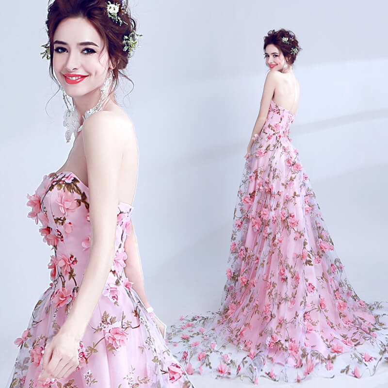 Pink Strapless Sweep Train Evening Prom Dresses 8477373573#