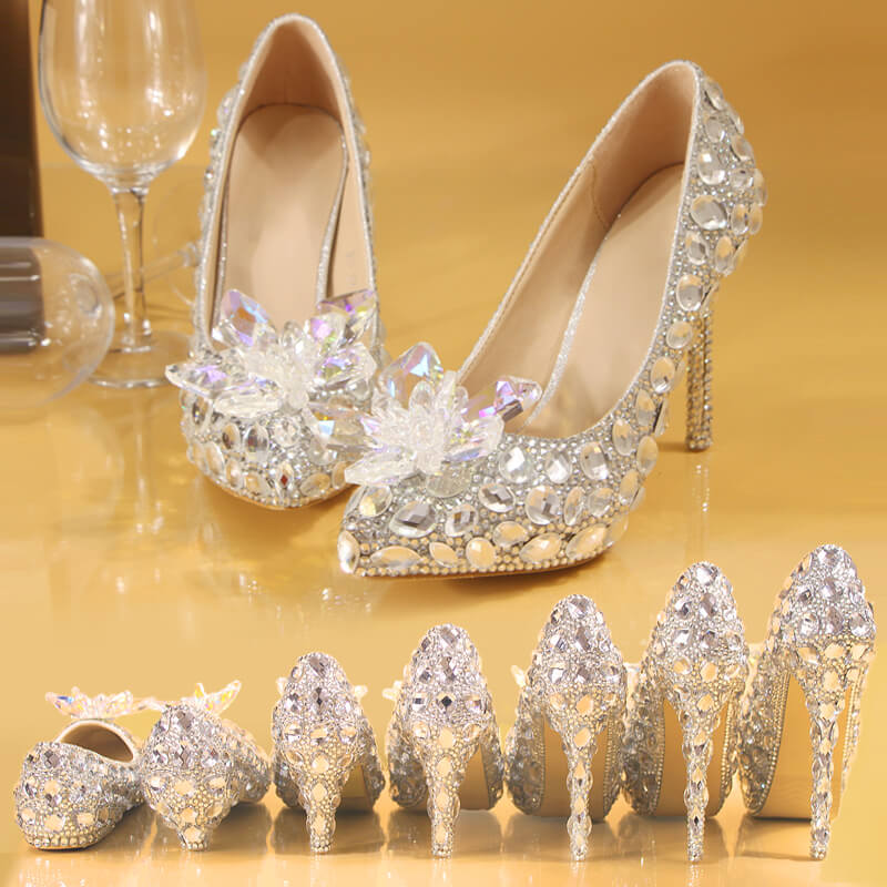 Handmade Top Quality Women's Sparkling Wedding Dress Shoes Pointed Toe Wedding Pumps 8480905550#