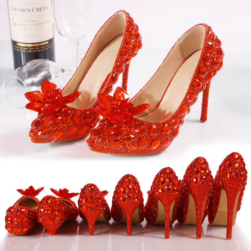 Handmade Women's Sparkling Wedding Dress Shoes Bridal Flat Stiletto Heels 8480905551#