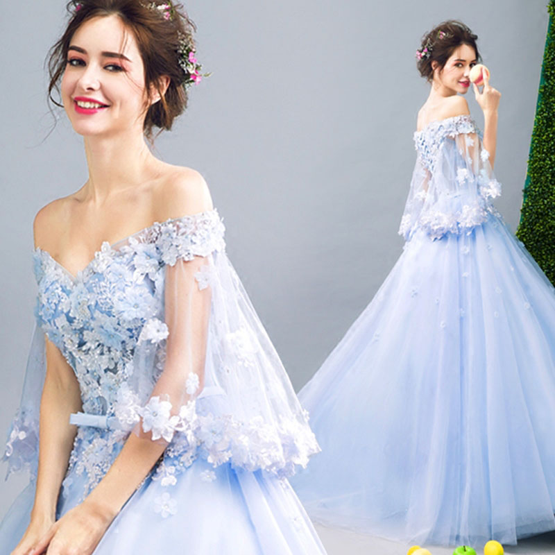 New Arrival Sequins Blue Prom Dresses 8482055008#