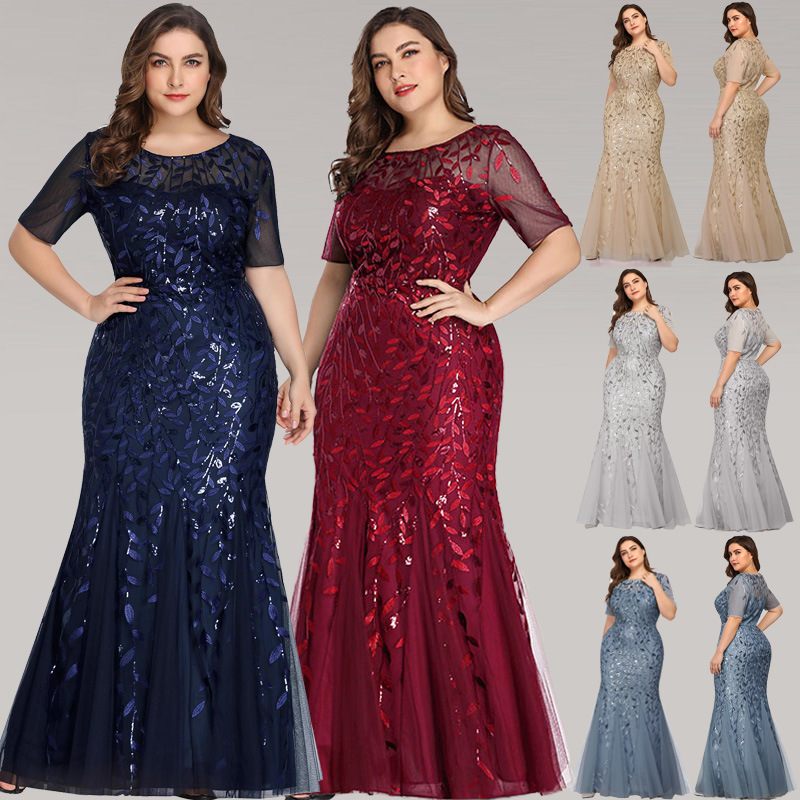 Real Image Plus Size Floral-Beaded Gowns 8484615252#