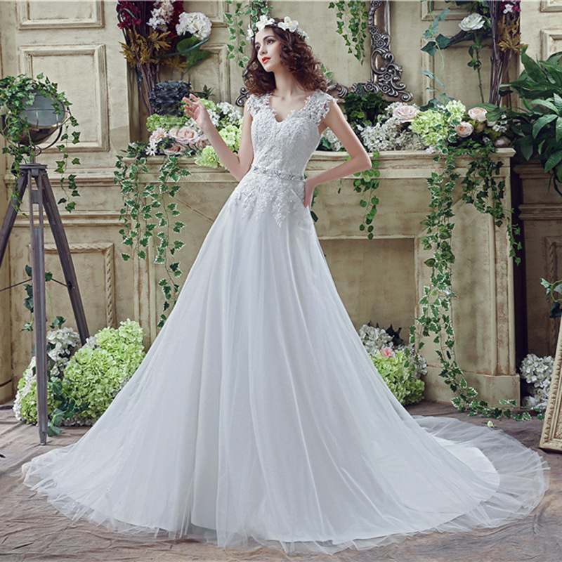 Applique V Neck Sweep Train Wedding Dresses With Rhinestone Belt 8489515666#
