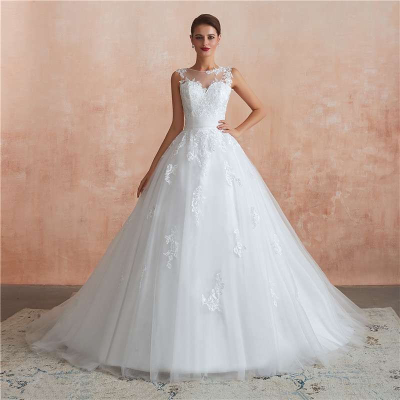 Applique Ball Gown Wedding Dresses Sweep Train 8493870241#