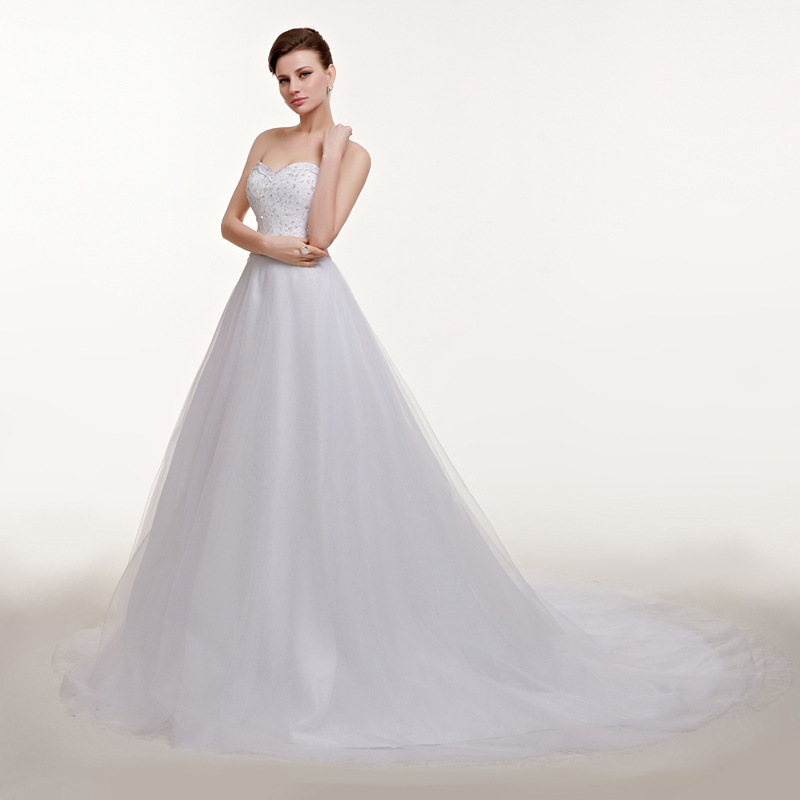 Sparkling Beaded Strapless A Line Wedding Dresses 8498390896#