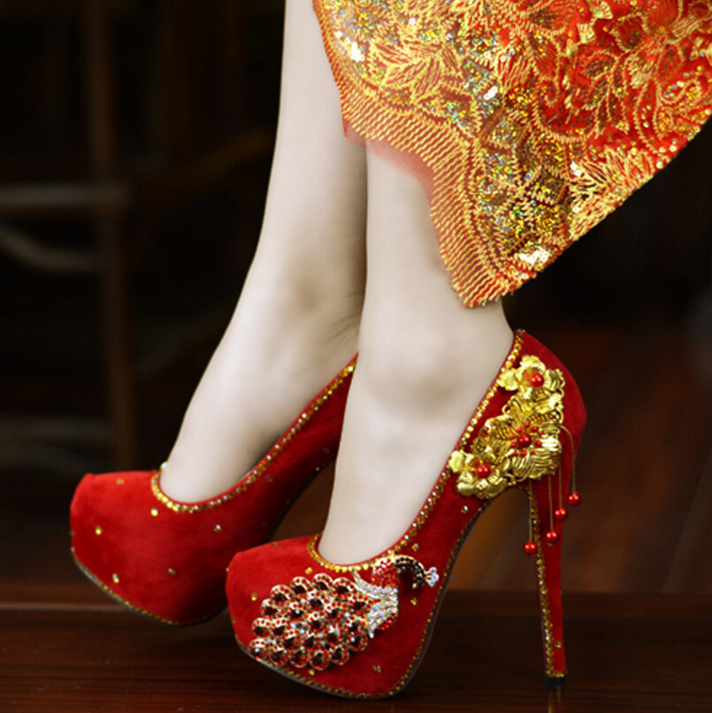 Classic Red Women's Sparkly Wedding Shoes Bridal Rhinestone Stiletto Heel 8498607257#