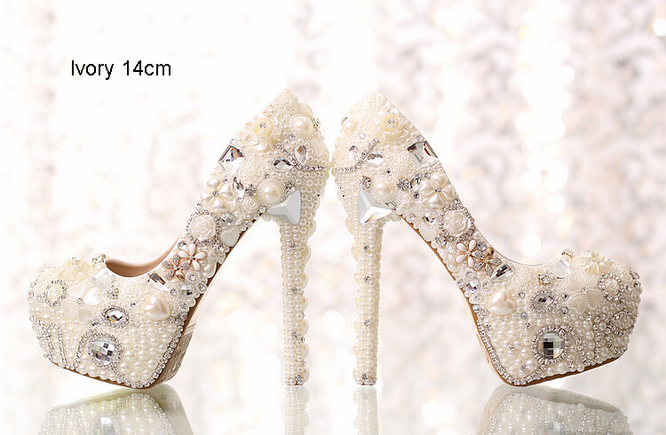 Ivory White Bridal Wedding Dress Shoes Handmade Luxury Pearls Rhinestones Cheap Women's Dress Shoes 8511559316#