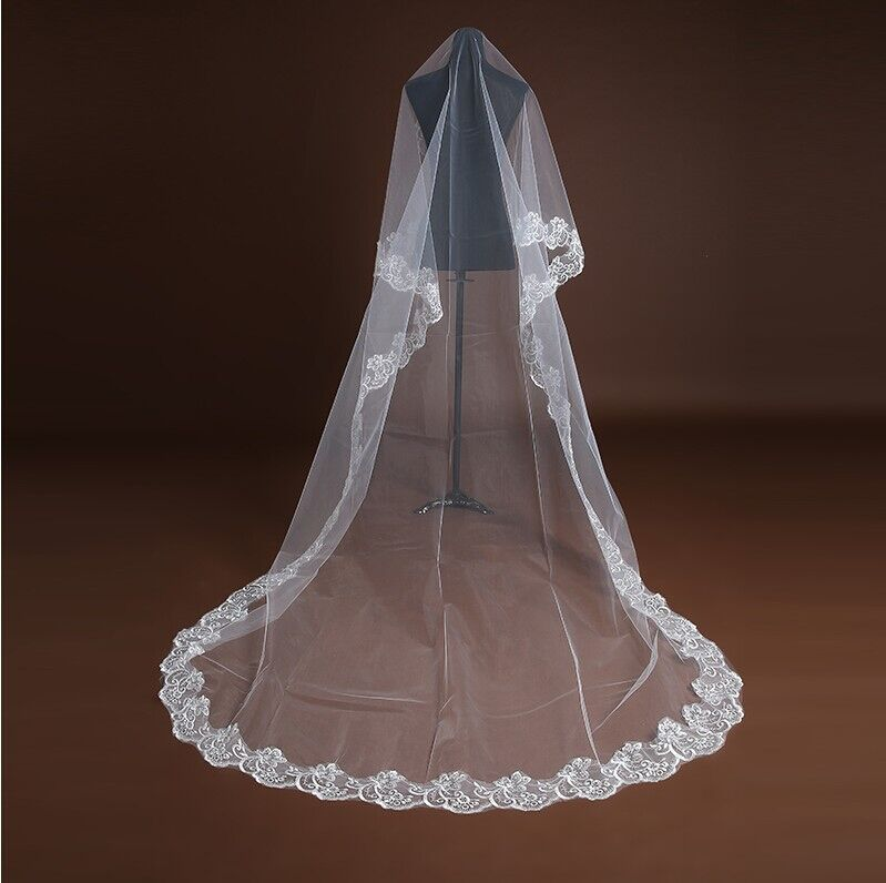 Wholesale Cheap Champagne Red White Ivory Bridal Veils 88211592207#