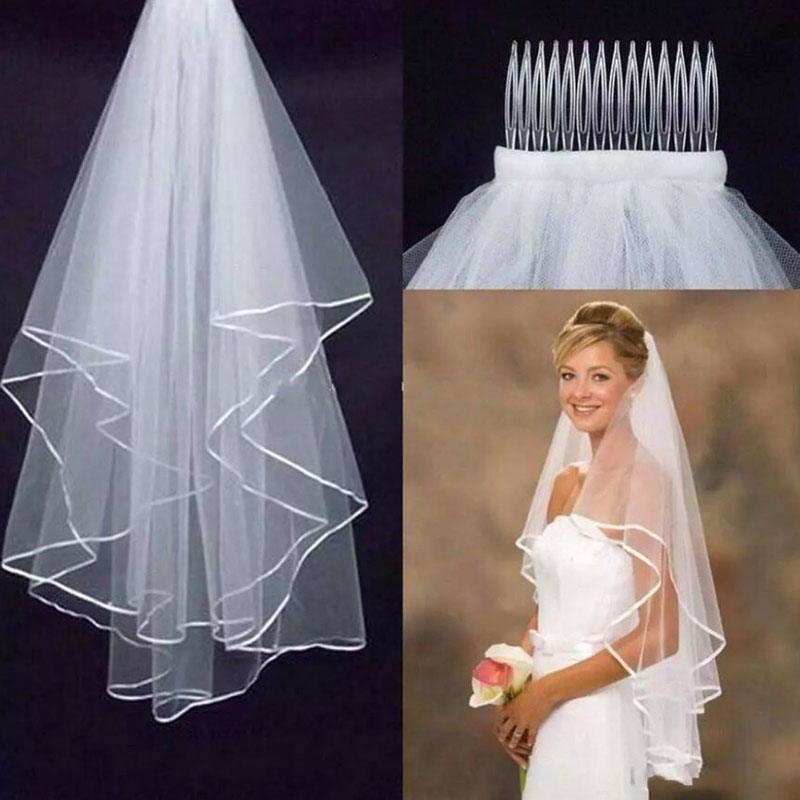 Two-Layer Bridal Veils With Comb 88211592210#