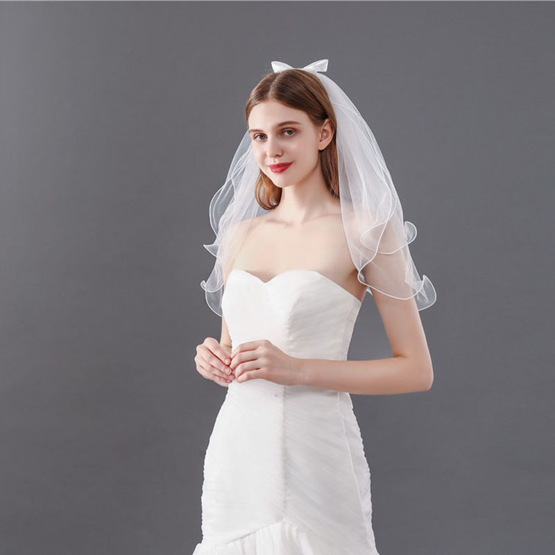A Bow Two-Layer Bridal Veils With Comb 88211592211#