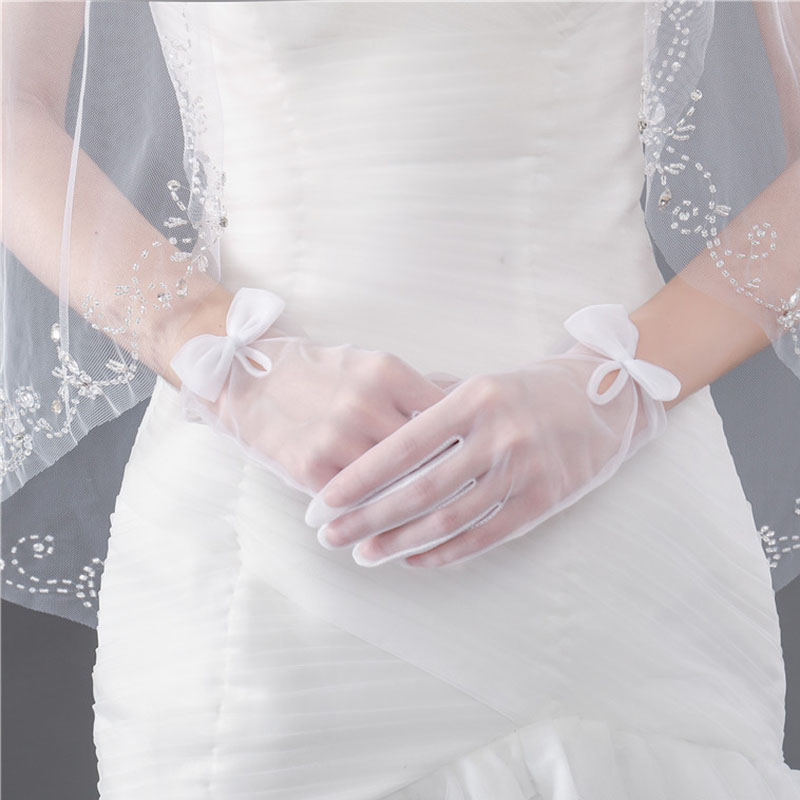 Full Finger Wrist Length Sheer Tulle Bridal Gloves 88211592213#