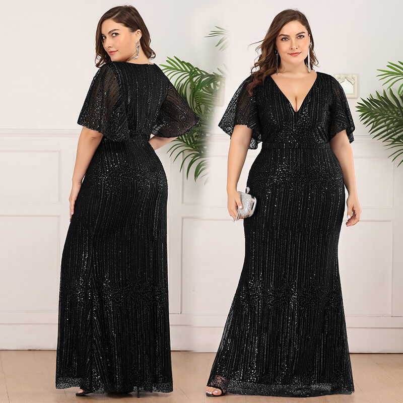 Plus Size Sequined Beaded Gowns 88211592214#