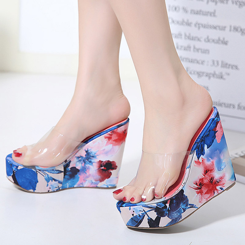 Floral Print Open Toe Slip On Platform Wedge Sandal 88211592251#