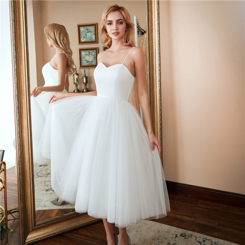 Spaghetti Strap Sweetheart A Line Wedding Dresses 88211592281#
