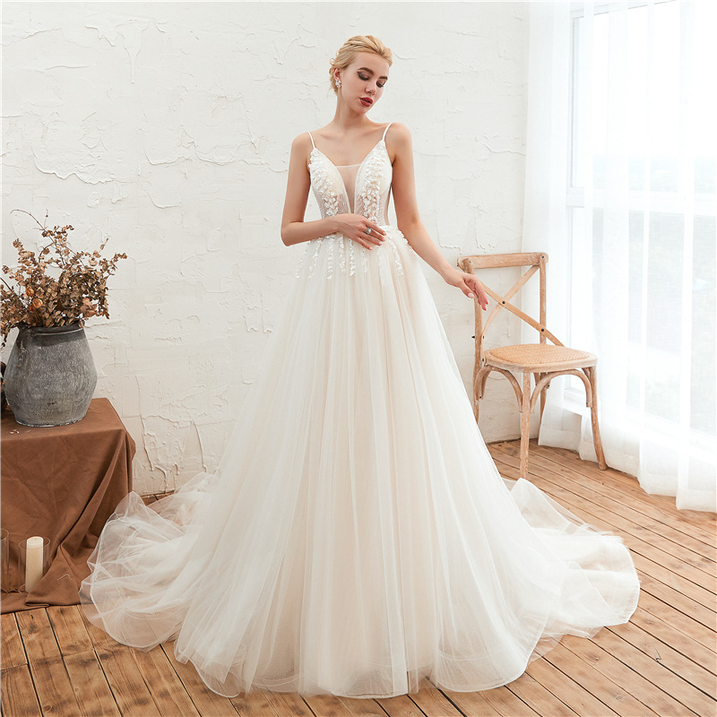 Illusion Petals Sparkly A Line Wedding Dresses 88211592285#
