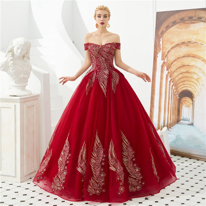 Embroidery Off Shoulder Ball Gown Evening Dresses 88211592286#