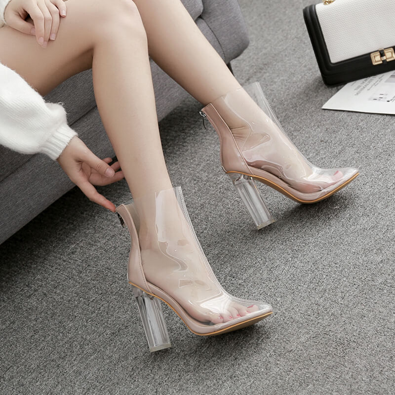 Clear High Heel Boots 88211592317#