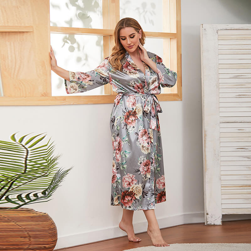 Blue Floral Print Home Wear Sleepshirt 88211592366#
