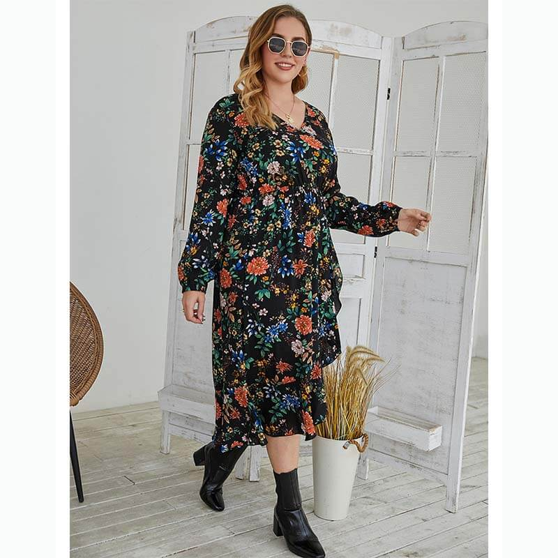 Black Floral Print Dress Plus Size 88211592379#