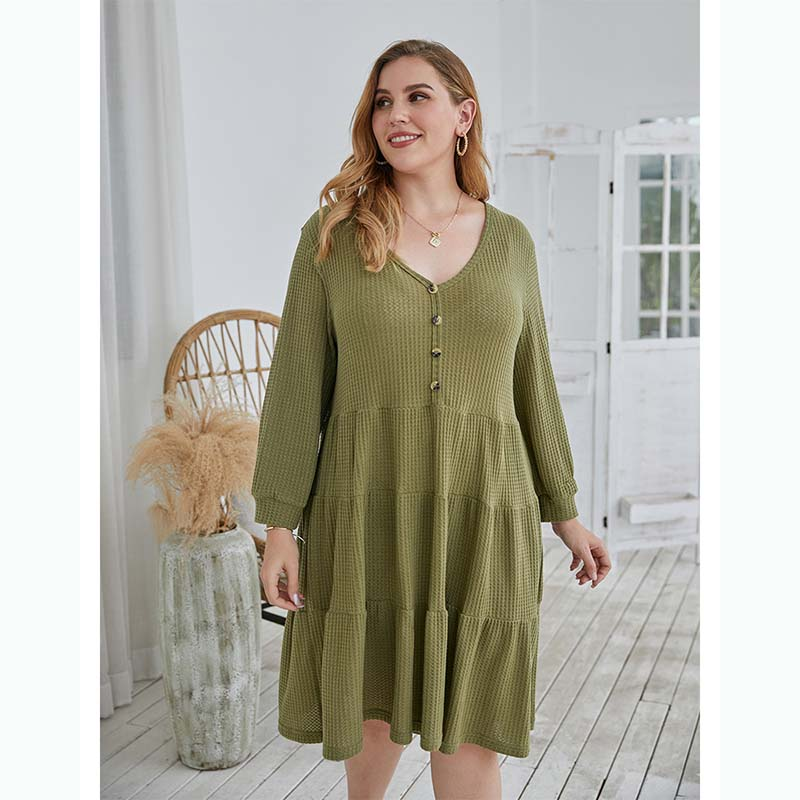 Knee Length Plus Size Dress In Green 88211592381#