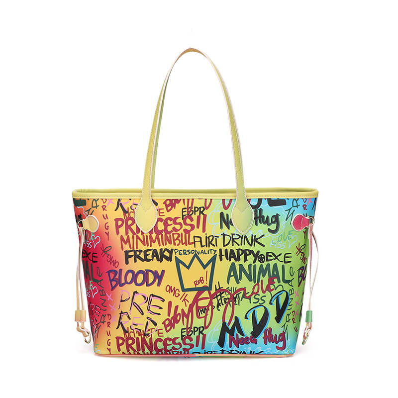 Luxury Rainbow Graffiti Tote Bag 88211592388#