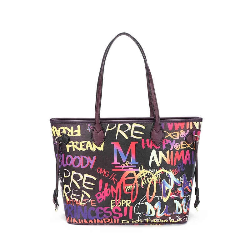 Luxury Black Graffiti Tote Bag 88211592389#