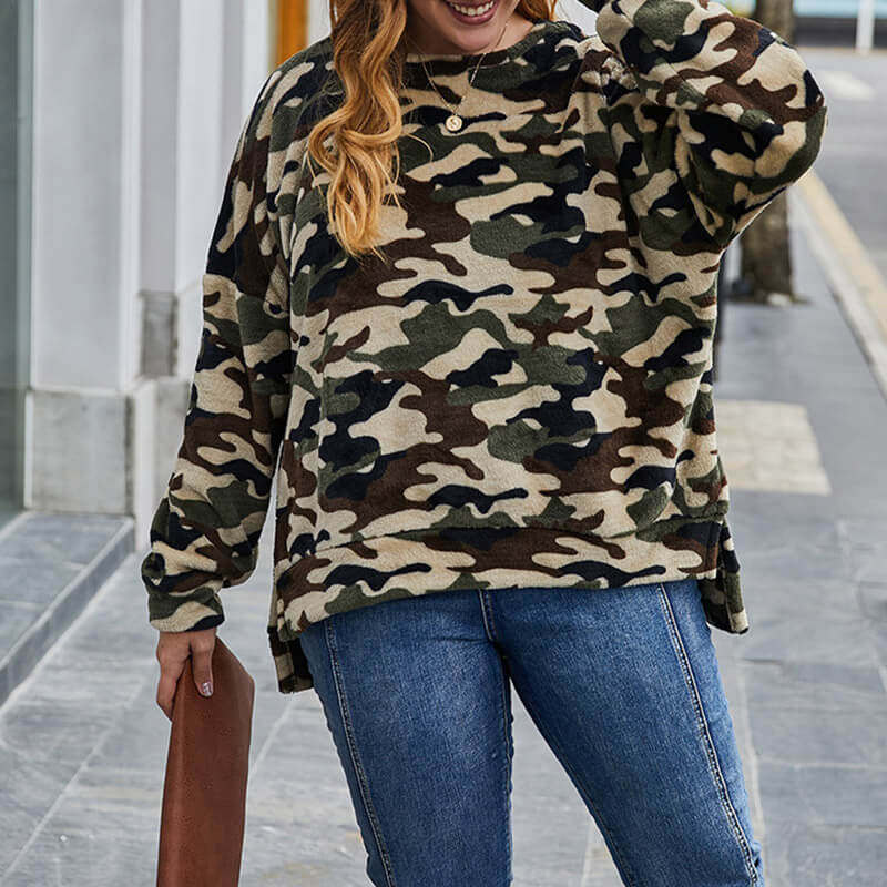 Camo Teddy Sweatshirt Plus Size 88211592400#