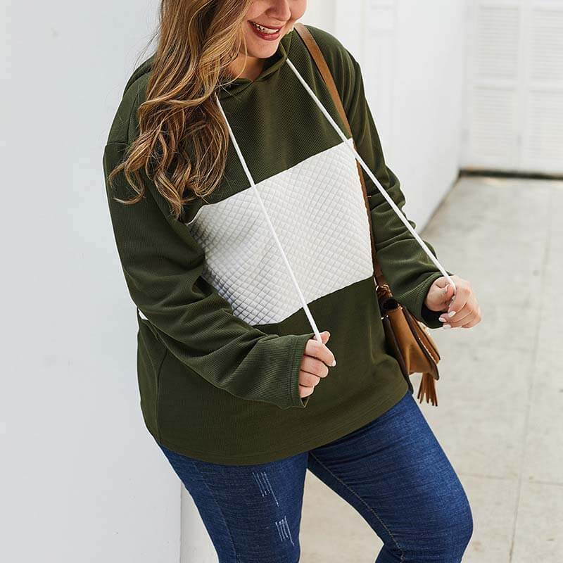 Color Block Plus Size Hoodie for Women 88211592429#