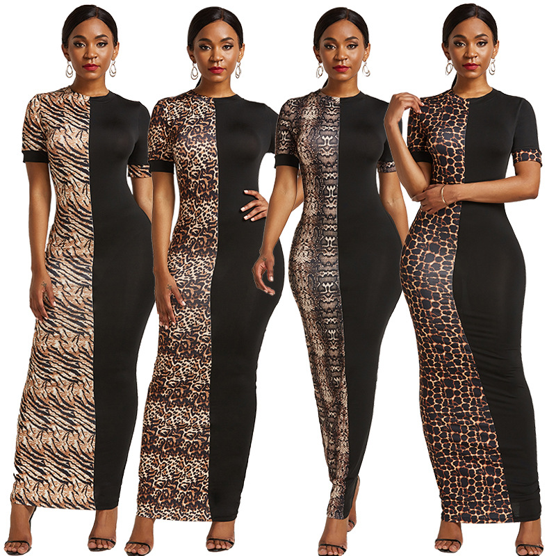 Animal Print Color Block Maxi Dress 88211592489#