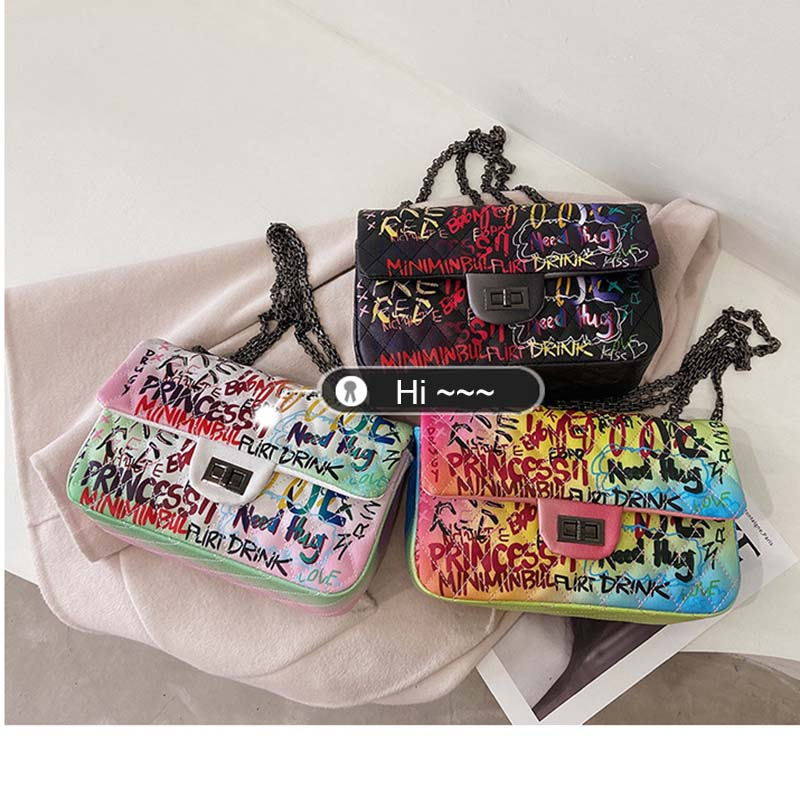 Multicolor Graffiti Handbag 88211592491#