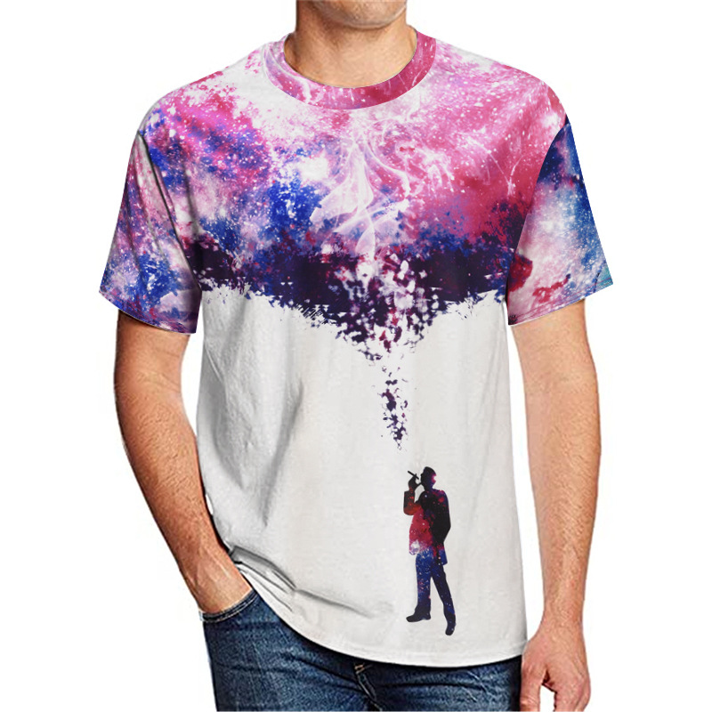 3D Graphic Starry Night Print Tee 88211592519#